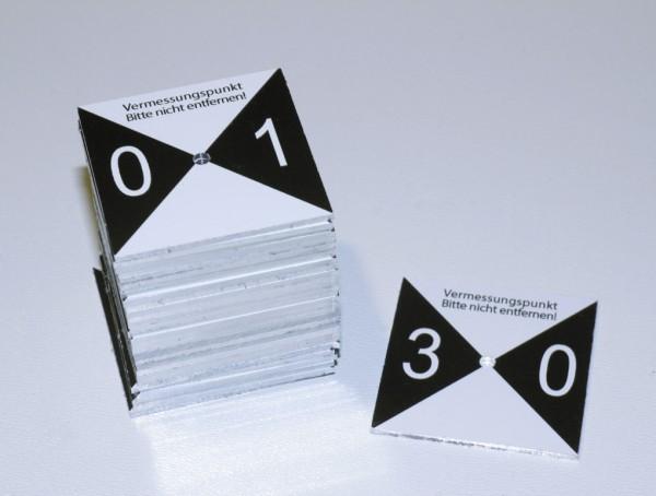 Foto-Markierung Messpunkte 40 x 40 mm gebohrt