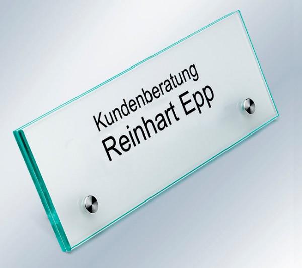 Tischaufsteller 200x70 mm - Floatglas
