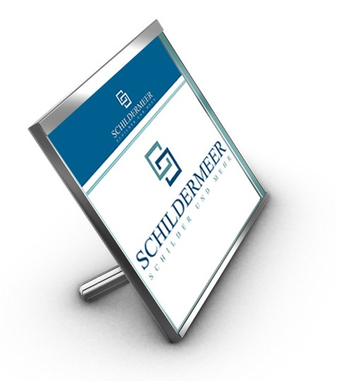 Tischaufsteller DIN A5 hoch 148x210 mm ESG Glas Edelstahl Wechselrahmen