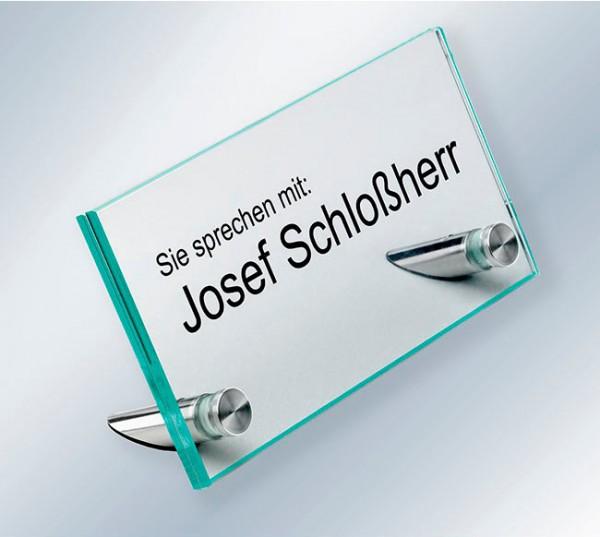 Tischaufsteller, 155x80x4 mm, ESG-Glas, flacher Kopf, 60° Aufstellwinkel