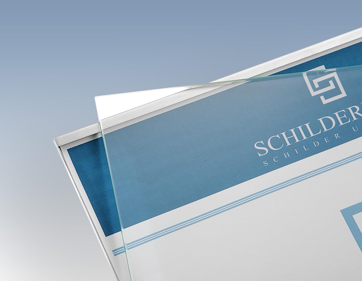 Kassettenschild DIN A5 quer 210x148 mm ESG Glas Edelstahl B/üroschild Hinweisschild T/ürschild Wechselrahmen