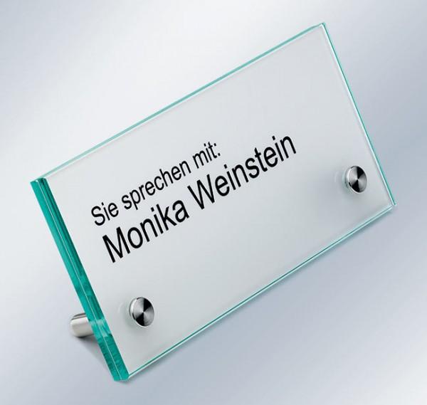 Tischaufsteller, 150x70x4 mm, ESG-Glas, extra-flacher Kopf, 60° Aufstellwinkel
